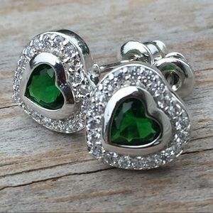 Emerald Heart white gold cz stud earrings